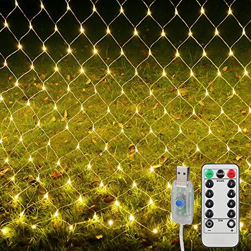 LED Lichternetz,3M x 2M 200 LEDs Lichterkette Lichtervorhang, LED Lichterkette mit Fernbedienung und Timer 8 Modi für Weihnachten Partydekoration Geburstag Hochzeit Wohnzimmer Kinderzimmer.