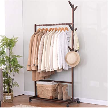 YMJ Solid Wood Rack Coat Clothes Stand,Clothes Rail Hall Tree Free Standing Removable Shoe Rack Entryway Bedroom Living Room Coat Racks