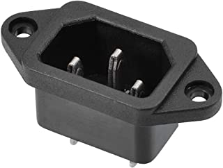 uxcell AC 250V 10A 3 Terminals Snap in Inlet Power Male Socket Adapter Connector IEC 320 C14