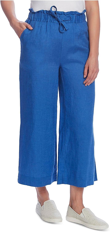 Vince Camuto Womens Drawstring Knit Linen Pants Blue XS