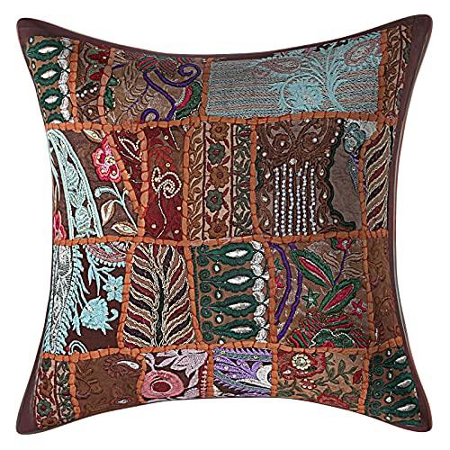 Kraft House Creations - Fundas de cojín de tela vintage de algodón indio, 60 x 60 cm, color marrón, bohemio, grande, 60 x 24 pulgadas, cuadradas, para sala de estar