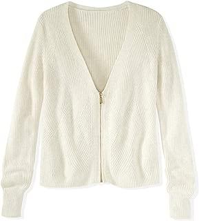 Women's Cotton Shaker Wave Stitch Zip Up Cardigan