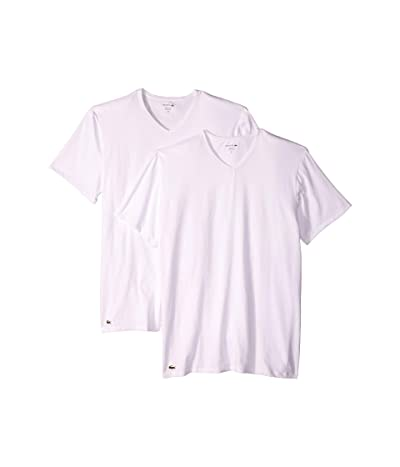 Lacoste Colours 2-Pack Classic Fit V-Neck Tee (White) Men