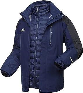 WOCTP Chaquetas Impermeables 3 En 1 para Hombres, con Costuras Selladas Abrigo De Snowboard Interior Desmontable De Plumón...