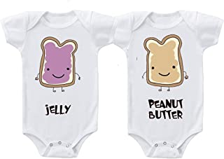 Peanut Butter Jelly Twins Infant Short Sleeve Baby Bodysuits One Piece Set of 2 6 Months White