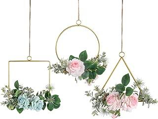 Pauwer Floral Hoop Wreath Set of 3 Artificial Rose Flower Garland Metal Hoop Wreath Wedding Arch Backdrop Nursery Wall Decor