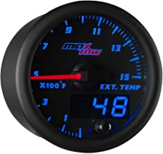 MaxTow Double Vision 1500 F Pyrometer Exhaust Gas Temperature EGT Gauge Kit - Includes Type K Probe - Black Gauge Face - Blue LED Dial - Analog & Digital Readouts - for Diesel Trucks - 2-1/16