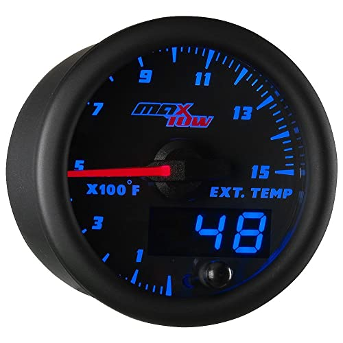 "MaxTow Double Vision 1500 F Pyrometer Exhaust Gas Temperature EGT Gauge Kit - Includes Type K Probe - Black Gauge Face - Blue LED Dial - Analog & Digital Readouts - for Diesel Trucks - 2-1/16"" 52mm"