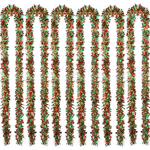 Sumind 6 Pieces Christmas Tinsel 39.4 Feet Metallic Garland Glittering Hanging Decoration for Christmas Tree Wreath Wedding Party Supplies