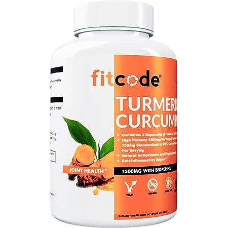 fitcode Turmeric Curcumin with 95% Curcuminoids, Highest Potency, Non-GMO, Gluten Free, 1500mg of Ultra-Pure Turmeric Curcumin with Bioperine for Enhanced Absorption, 30 Serving Veggie Capsules