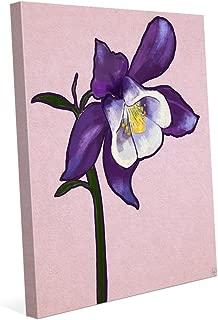 Columbine Flower on Purple: Graphic Painting Illustration of Columbine Stem in White & Purple Wall Art Print on Canvas