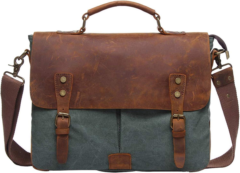 DCRYWRX Vintage Echtes Leder Canvas Messenger Bag Für Schule Laptop Mit Abnehmbaren Riemen Satchel Schultertasche, 14 (L) X 11  (H) X 4,7 (W)