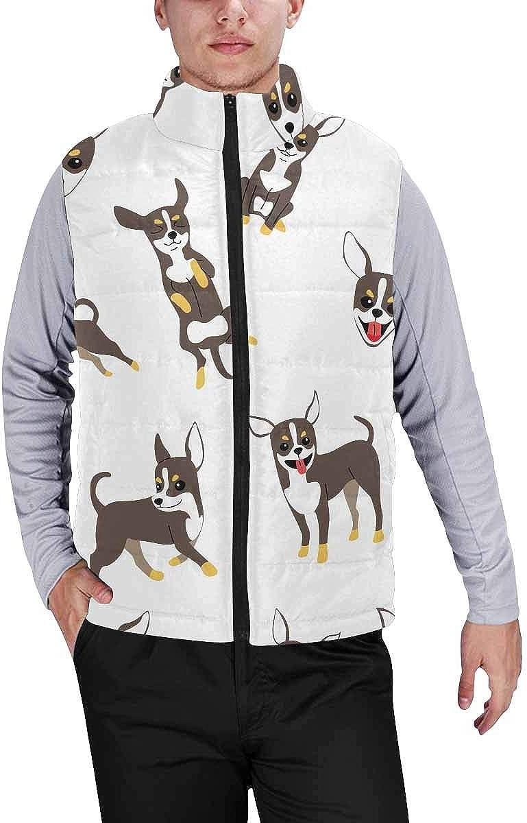 InterestPrint Men's Outdoor Casual Stand Collar Sleeveless Jacket Cherry Tree in Spring