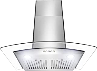 Golden Vantage Wall Mount Range Hood – Stainless-Steel & Glass Hood Fan for Kitchen – 3-Speed Quiet Motor – Push Control Panel – Curve Modern Design – Baffle Filter & LED – Tempered Glass (30 in.)
