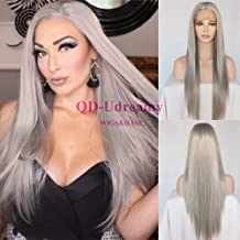 QD-Udreamy Grey Color Long Silky Straight Synthetic Hair Heat Resistant Hair Lace Front Wigs for Women 24 Inch