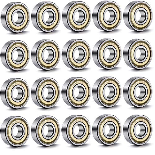 Amacoam kogellagers 608 ZZ Skateboard kogellagers longboard rollers kogellagers metaal double shielded miniatuur groefkogellagers 8 mm x 22 mm x 7 mm 20 stuks