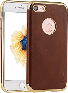 SHUANGRUIYUAN Plating Edge TPU + Leather Charismatic Protective Case for iPhone 8 & 7 (Color : Brown)