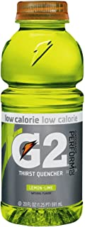 Gatorade G2 Sports Drink, Lemon Lime, Low Calorie, 20-Ounce Bottles (Pack of 24)