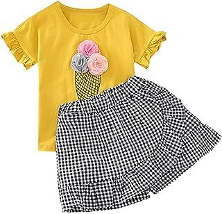 Jugendhj Babysuit 🇨🇦🇨🇦Toddler Kid Baby Girls Outfits Clothes Ice Cream T-Shirt+Plaid Shorts Pants Set
