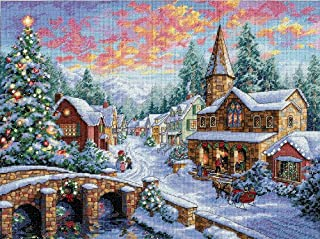 Dimensions Gold Collection Counted Cross Stitch Kit, Holiday Village Christmas Cross Stitch, 16 Count Dove Grey Aida, 12'' x 16''
