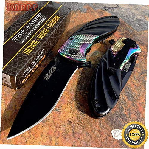 Speedster Model Rainbow TI-Coated Black Blade Collector Pocket Knife - Outdoor Camping perfect For Hunting EDC EMT
