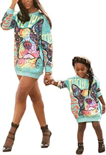 Mommy and Me Matching Cartoon Printed Loose Pullover Shirt Dress Parent-Child Family Long Sleeve Dress Outfits