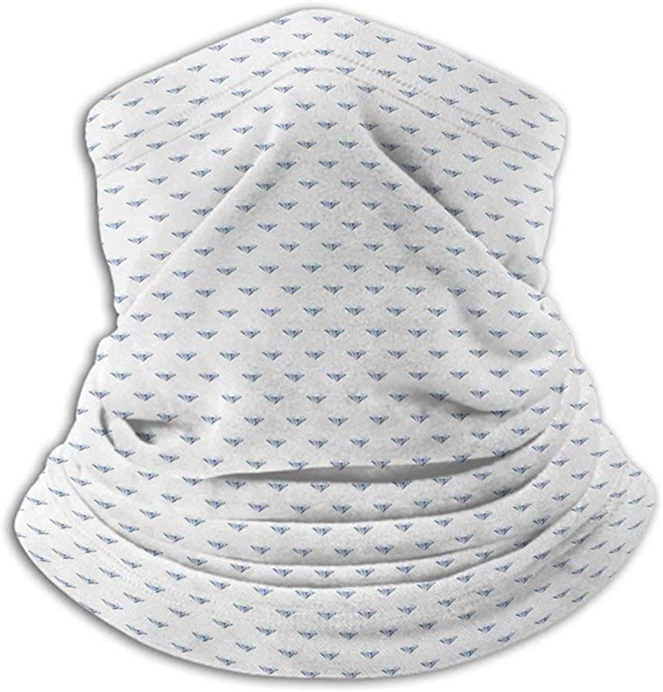 Face Cover Diamonds Winter Neck Gaiter Geometrical Design Rhombuses and Lines on the Collection of Natural Rocks Baby Blue White