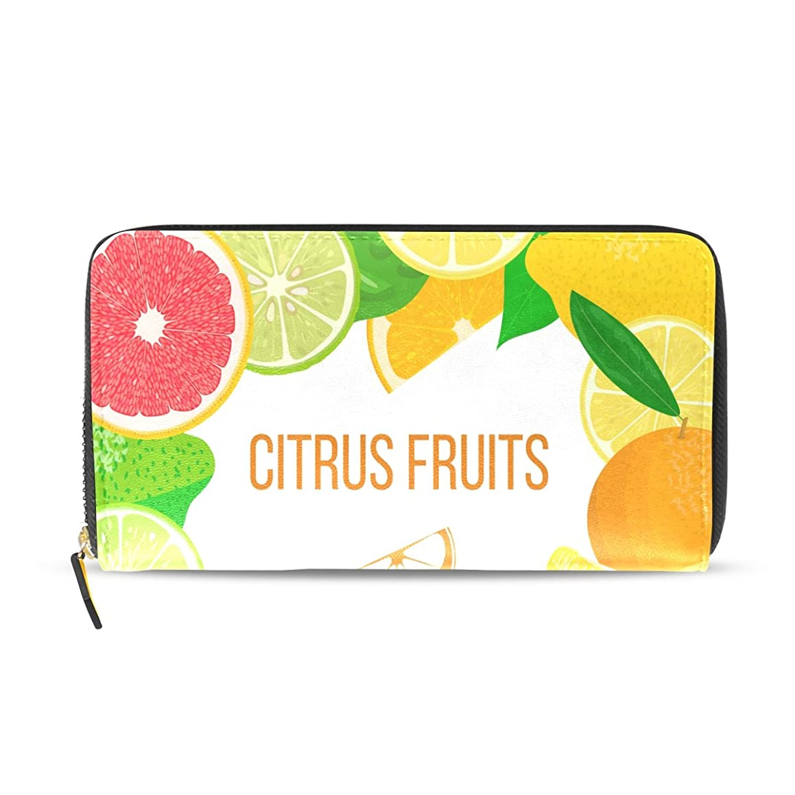注意空いている光のマキク(MAKIKU) 財布 レディース 長財布 果物 柄 オレンジ レモン カラフル 革 大容量 ラウンドファスナー ウォレット PUレザー コインケース カード12枚収納 プレゼント対応