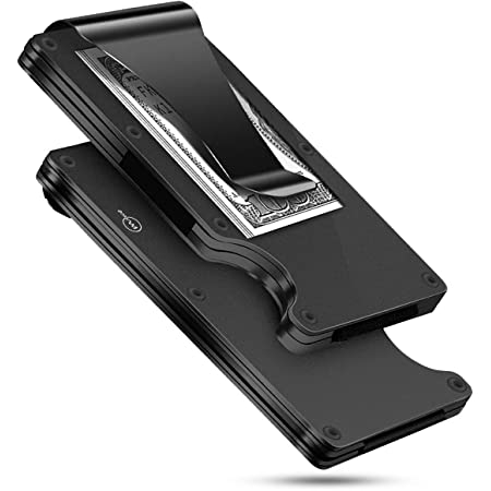 MUCO Credit Card Holder Wallet RFID Protection Lightweight Metal Travelling Daily Mens Womens Security Money Clip Black