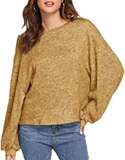 Women's Long Sleeve Slim Round Neck Solid Knit Loose Pullover Sweaters