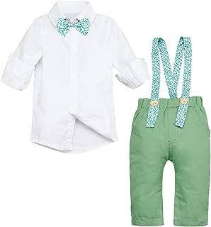 Yoveme Baby Boys Gentleman Outfits Sets Bow Tie Shirts Overalls Bib Pants Wedding Tuxedo Suspenders Outfits