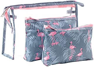 Waterproof Flamingo Cosmetic Bag Set Toiletry Storage Organizer for Women Girls(Grey)