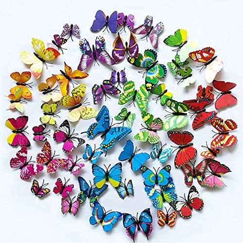 walolo 96PCS 3D Butterfly Wall Stickers Multicolor Crafts Butterflies Magnetic Decals for Kids Room Decoration