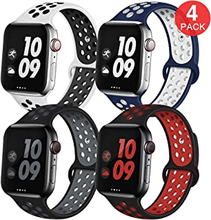 EXCHAR Sport Band Compatible with Apple Watch Band 40mm Series 5/4 Breathable Soft Silicone Replacement Wristband Women and Men for iWatch 38mm Series 3/2/1 Nike+ All Various Styles S/M 4 Pack