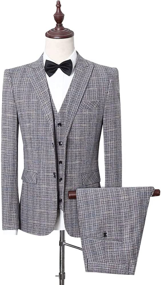 ZZABC (Suit + Vest + Pants Suit Men's Three Piece Business Cultivation Professional Mens Suits (Gray : Gray Two, Size : XL 63-67kg)