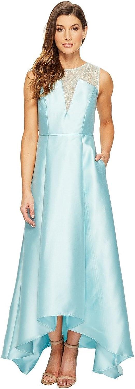 Adrianna Papell Women's Lace Bodice Yoke and Mikado Combo Ball Gown Aqua Glass Dress