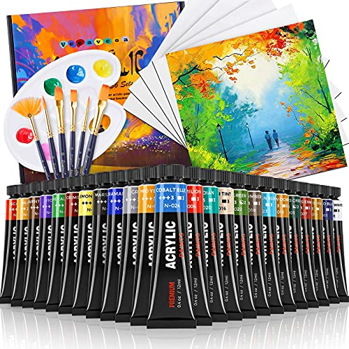 Colori Acrilici per Dipingere, 36 Set di Colori Acrilici, Pittura Acrilica Vccavcoa Tempere Lavabili, 6 Pennelli, 5 Cartone Telato, 1 Tavolozza, Perfetto Colori per Tessuti,legno,Vetro,DIY