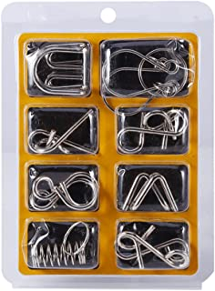 IQ Test Brain Teaser Metal Wire Puzzles Magic Trick Toy Mind Puzzles Game for Adult & Children Toys 8Pcs/Set