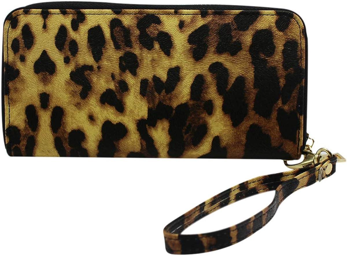 Snakeskin Long Purse Wristlet Wallet Handbag Cell Phone Pouch for Women Girls with Zipper Strap
