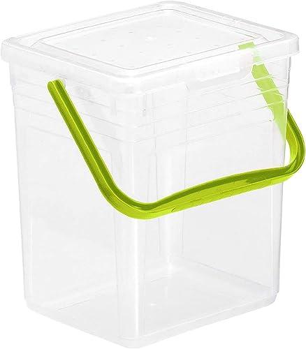 Rotho Powdy Boîte de stockage 7l avec couvercle et poignée, Plastique (PP) sans BPA, transparent / vert, 5kg/7l (24,0...