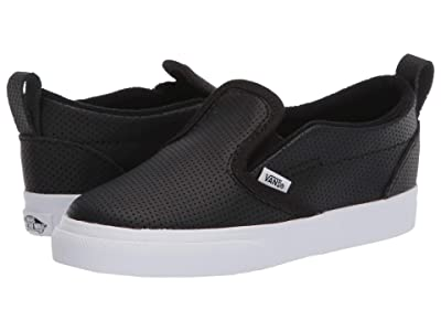 Vans Kids Slip-On V (Infant/Toddler) ((Perf) Black/True White) Girls Shoes