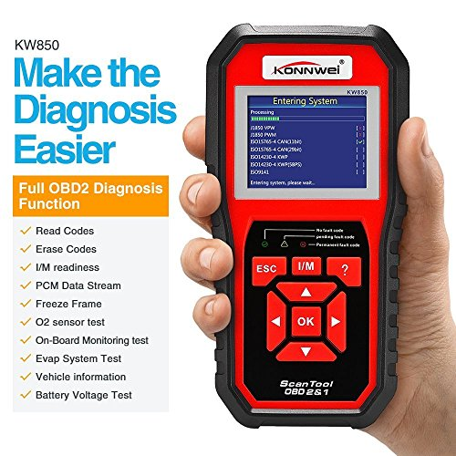 Scanner de diagnostic automatique KONNWEI - OBDII - KW850 OBD2 EOBD - Scanner complet du système - Meilleur outil de vérification du moteur