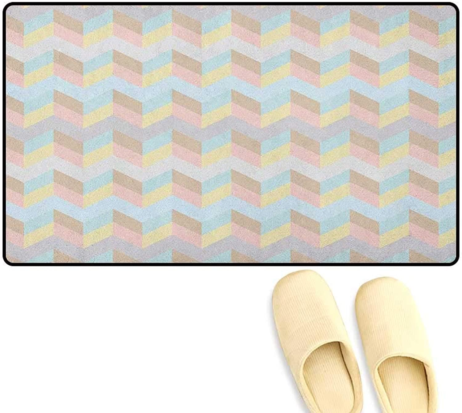 Pastel Door Mats for Inside Old Fashioned Chevron Pattern Horizontal Zigzag Lines Geometric Abstract Soft colors Size 24 x36  Multicolor