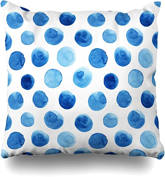 Ahawoso Throw Pillow Covers Cases Round Pattern Watercolor Blue Polka Dots Paint Color Shade Water Abstract Dot Home Decor Cushion Square Size 20 X 20 Zippered Pillowcases