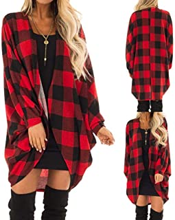 OYTRO Women Fashion Plaid Cotton Loose Front Open Cardigan Coat Cardigans