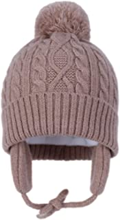 Baby Boys Girls Knit Beanie Hats Kids Toddler Winter Warm Fleece Ear Flap Pompom Caps