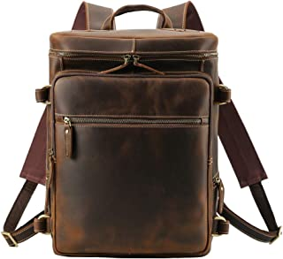 Men's Vintage Classic Leather Casual School Case Travel Weekender Outdoor Sports 15.6 Inch Laptop Luggage Suitcase Daypack Overnight Backpack Hiking Camping Shoulder Bag Tote Handbag Brown