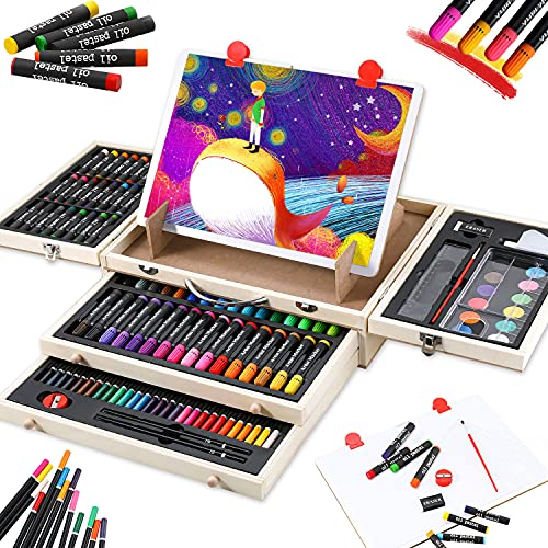 Art Supplies, 108-Piece Wooden Art Set Crafts Kit with Drawing Easel,...