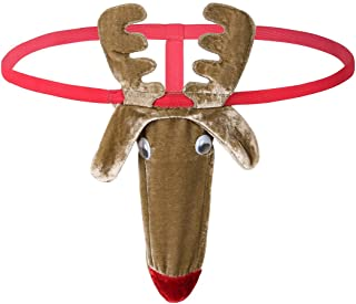 TiaoBug Men's Christmas Reindeer Bulge Pouch G-String Thong Funny Bikini T-Back Panties Underwear