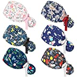 6 Pieces Adjustable Bouffant Hats with Buttons Ponytail Holder and Ponytail Pouch Tie Back Hats Bouffant Hats Floral Printed Hat for Women